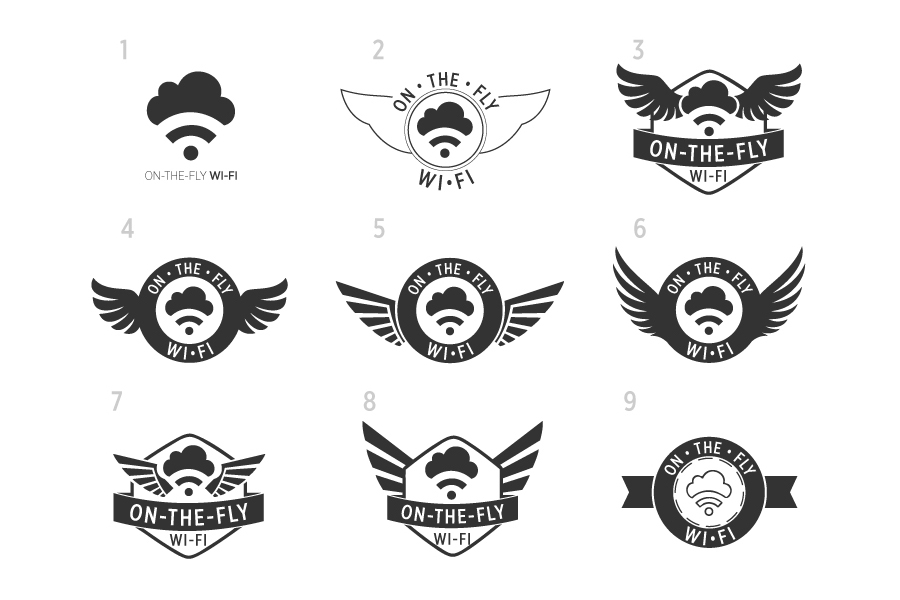 Final round of On The Fly Wi-Fi logo comps.