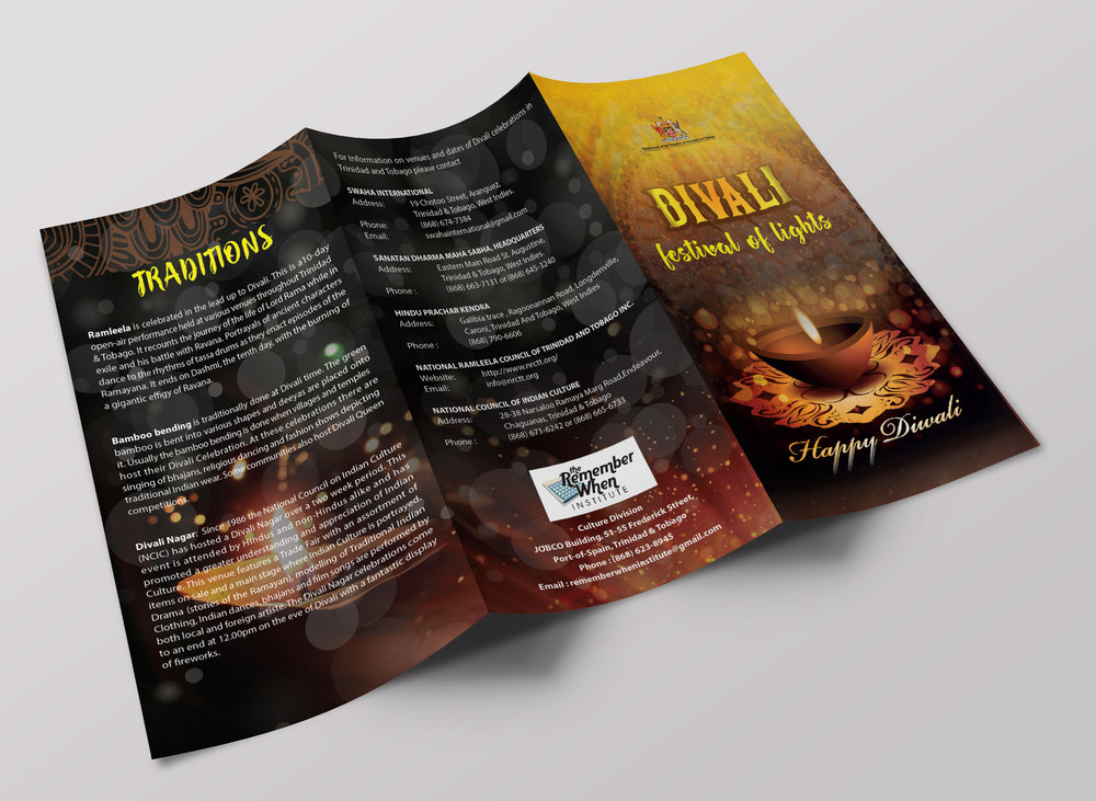 Divali Brochure - Client: Ministry of Community Development, Culture and the ArtsDescription: Design a tri-fold brochure on the theme of Divali. Warm colours are set against dark backgrounds as a means of illustrating the theme of the booklet