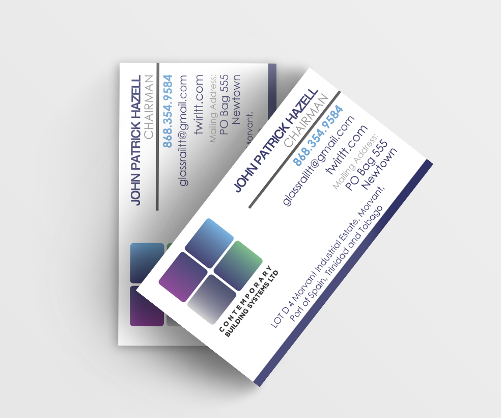 CBS Business Cards - Client: Contemporary Building Systems Ltd.Description: Design Business cards for CBS using current logo. Client requested a simple and clean card design with logo dominant. Year: 2015Logo design provided by client.