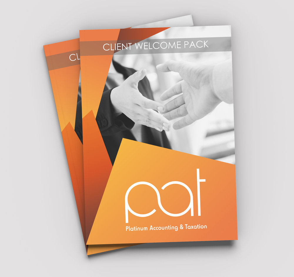 PAT Client Welcome Pack        E-Book - Client: Platinum Accounting and TaxationDescription: Design and layout of a digital ebook welcome pack for PAT's clientelle using brand colours of black, white, grey and orange. Client requested a corporate look and feel with clean lines and engaging supplemental imagery. Year: 2017