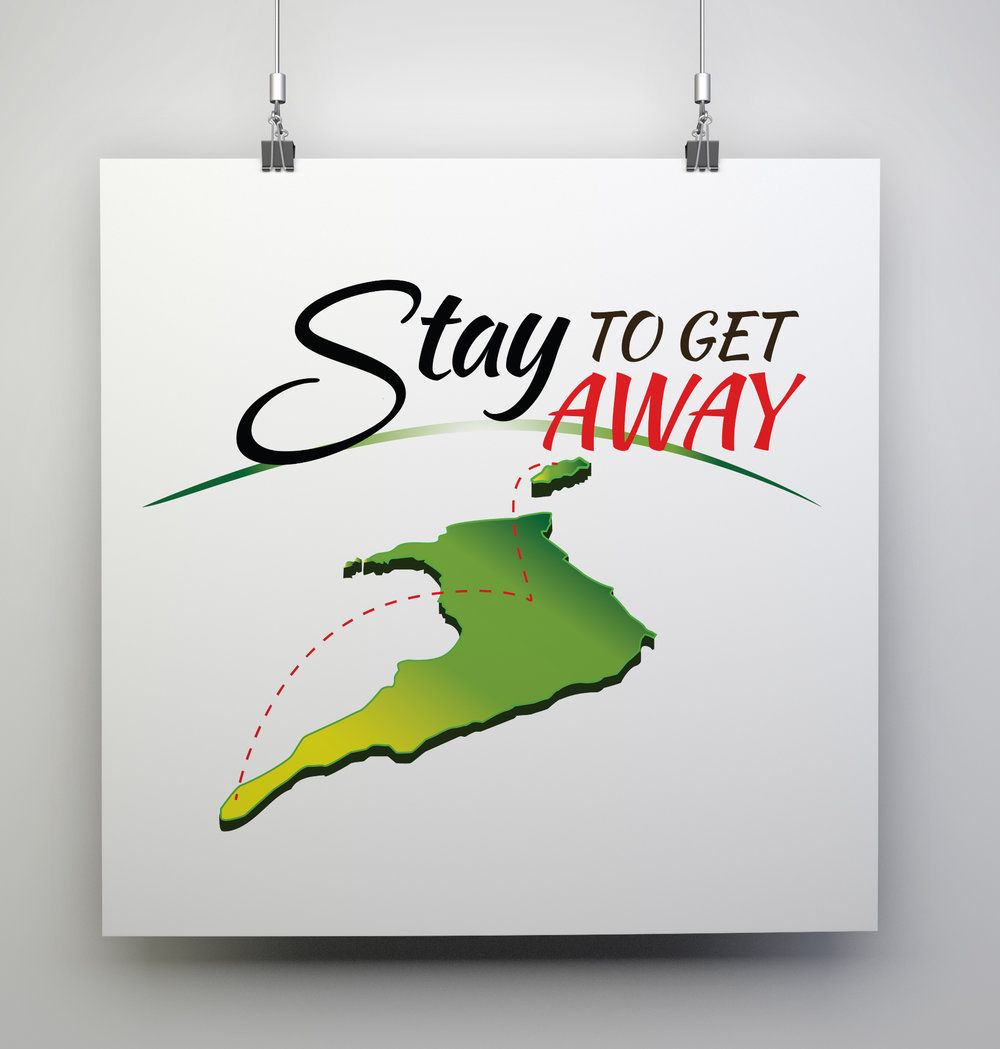 Stay to Get Away 2016 Logo - Client: The Tourism Development Company (TDC)Description: Design a logo for the 2016 Stay to Get Away Campaign. Client requested a simple logo that reflected the nature of the campaign as a domestic tourism campaign. Logo uses a combination of nationalistic colours along with yellow and green as a complimentary pop of colour, engaging the viewers attention. The fonts used are relaxed yet engaging. Year: 2016