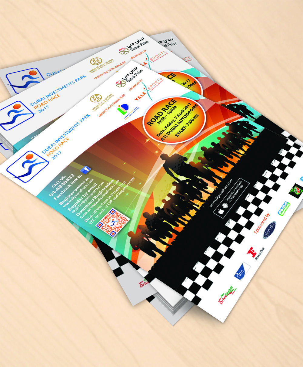 DIP Road Race 2017 Flyer - Client: Yala SportsDescription: Design Flyer for the promotion of the Dubai Investments Park 2017 Road Race. Client wanted something bright and colourful which included both sponsor and organizer logos. Year: 2017