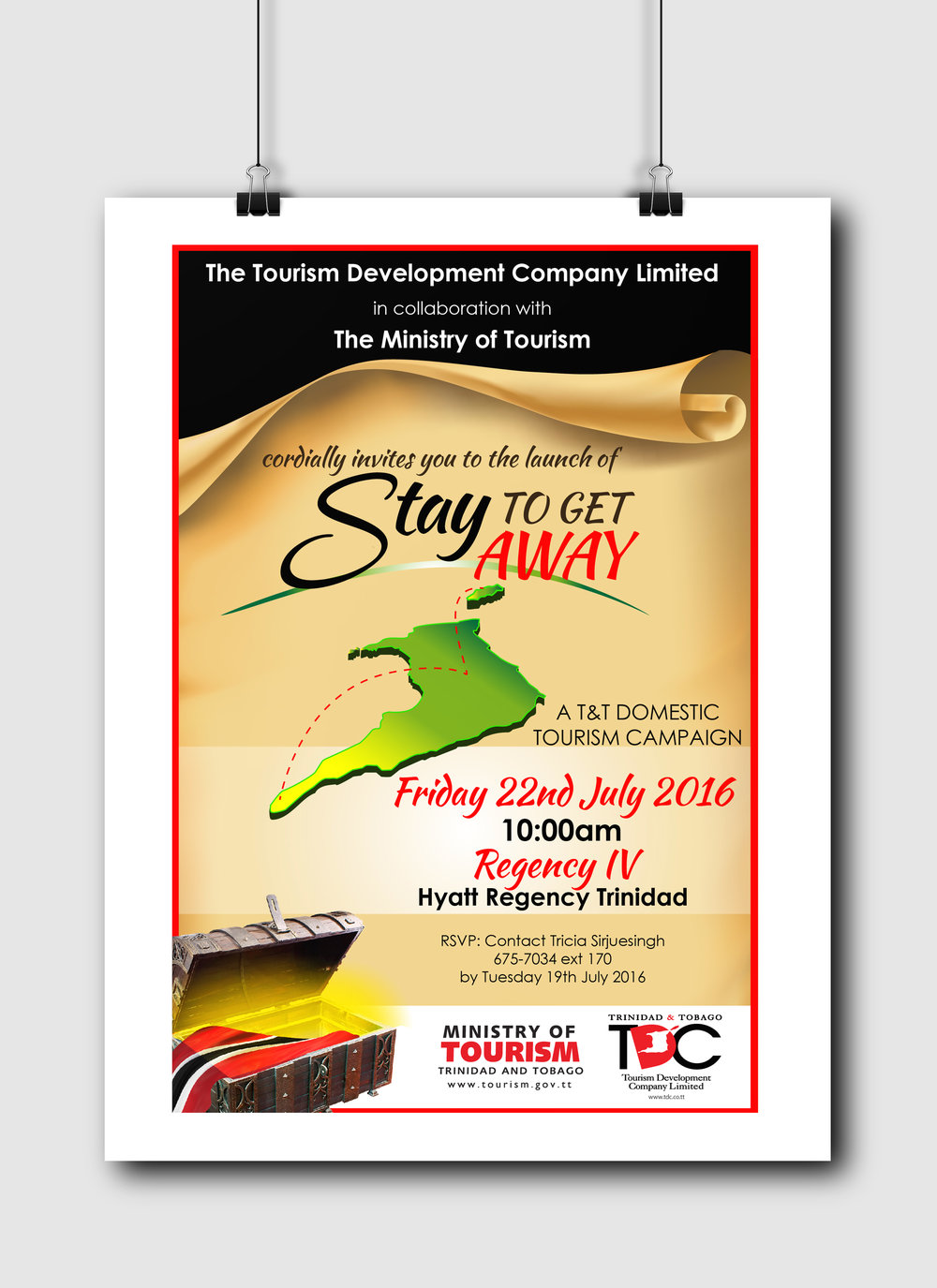 Stay to Get Away Launch Invitation - Client: The Tourism Development CompanyDescription: Design an invitation for the launch of the 2016 Stay to Get Away campaign. This design uses an