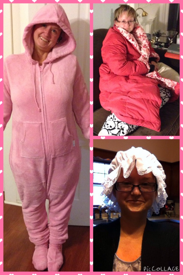 One year the birthday theme was to keep Marnie warm.  My Dad got me a Ciny Lou Who outfit from Pajamagram.  My sister got me an iderdown robe from her job at Lands' End.  I bought flannel nightgowns, shawls & a granny cap.