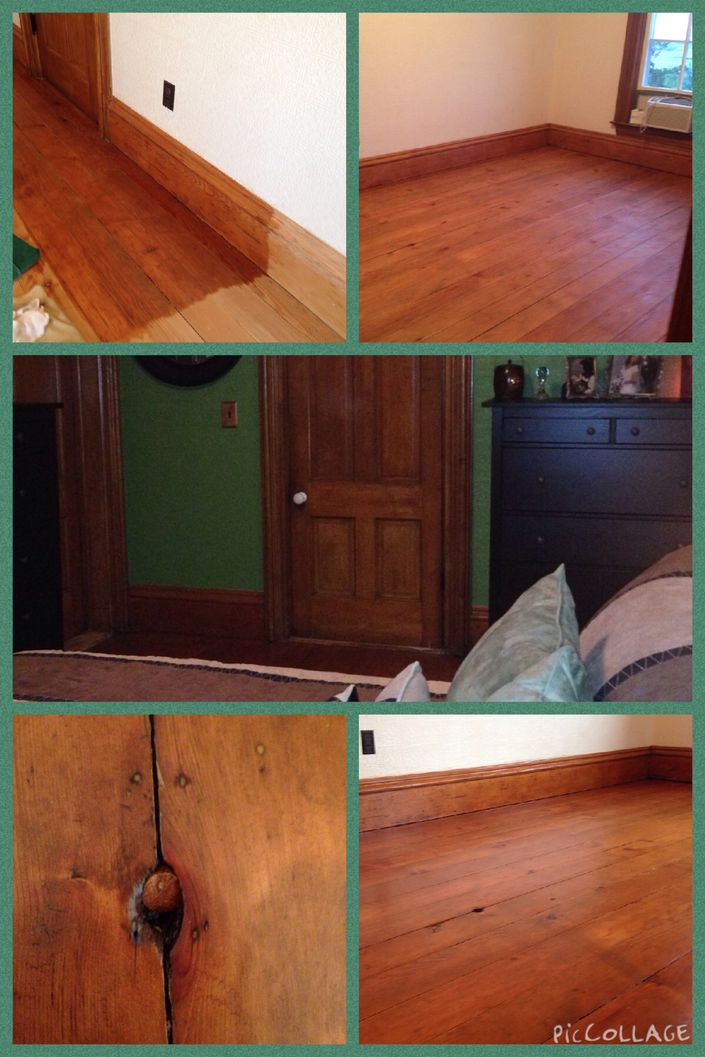 Floor in various stages of staining & polyurethane.  To finish the look of the knot on the floor I took a wine cork, cut the top off, stained it & used a rubber mallet to hammer it in.  Then the middle pic is the final look.
