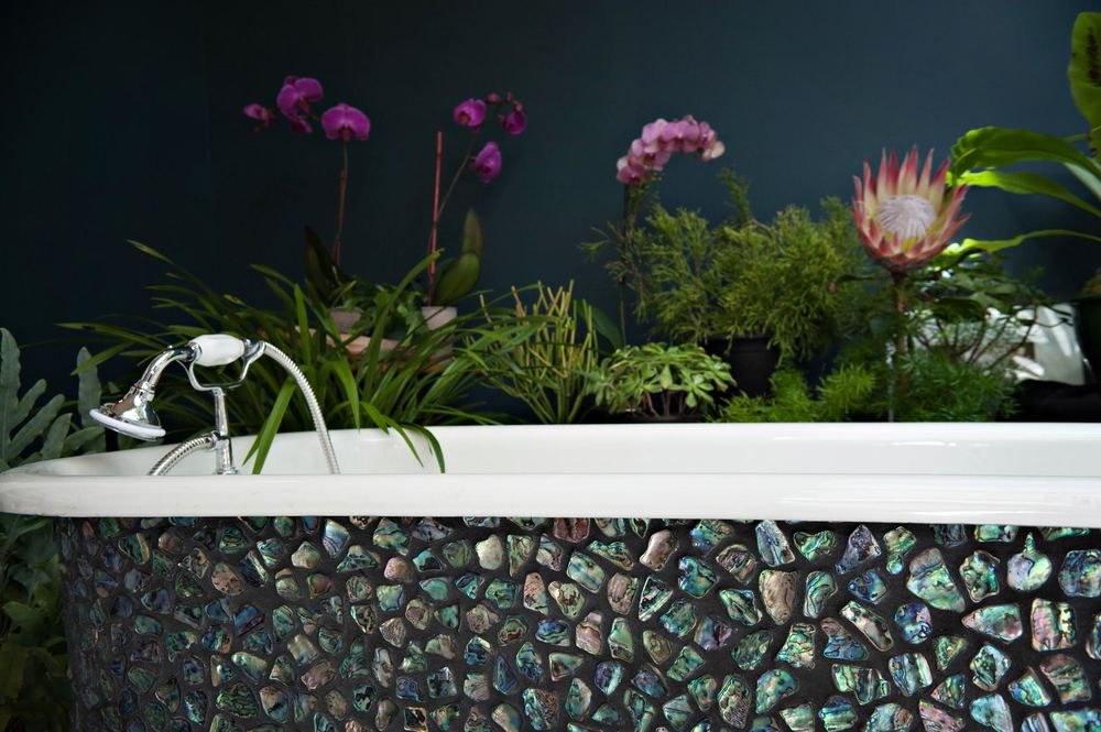 Paua shell mosaic clawfoot tub detail hardware