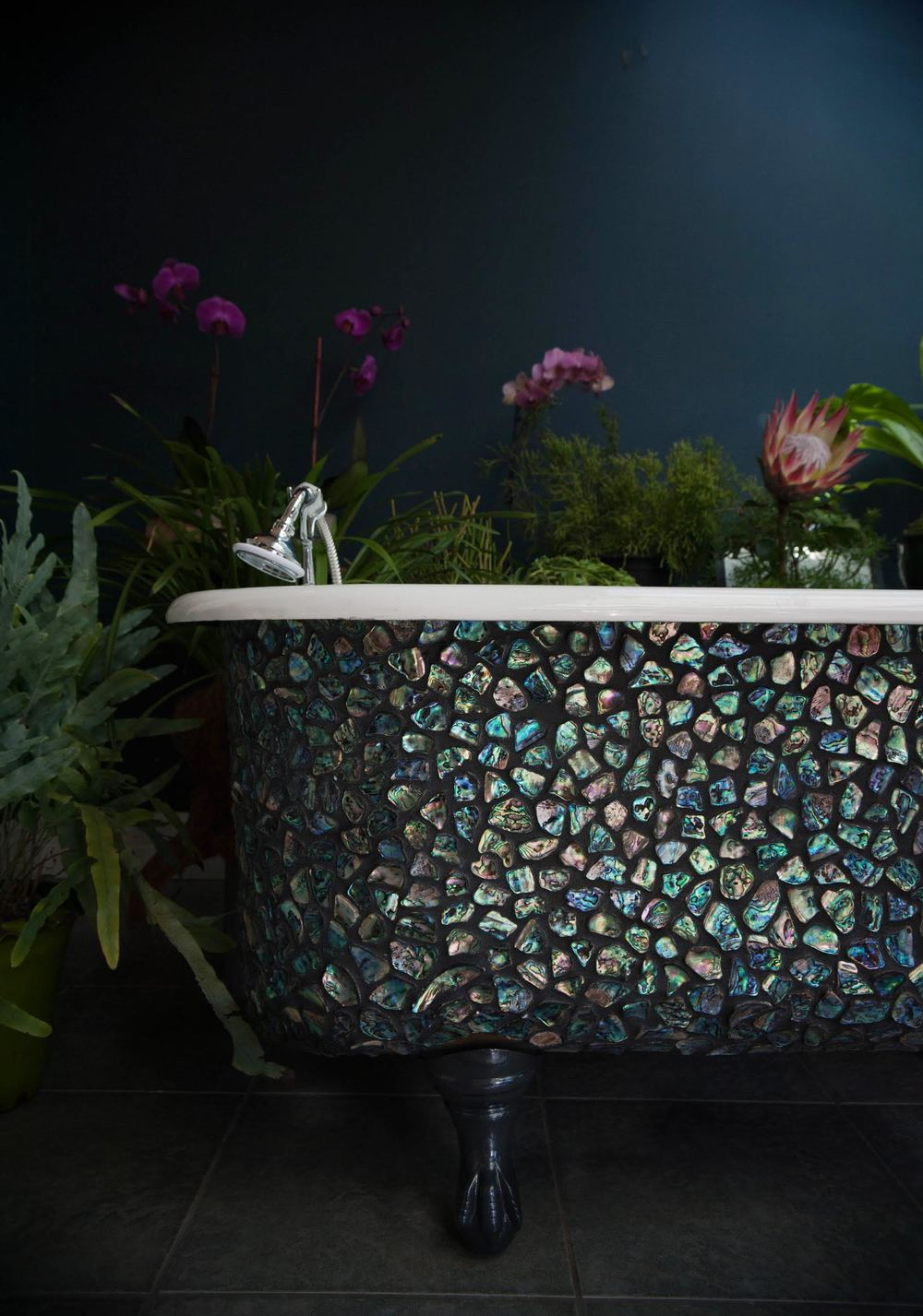 Paua sheel mosaic clawfoot tub detail