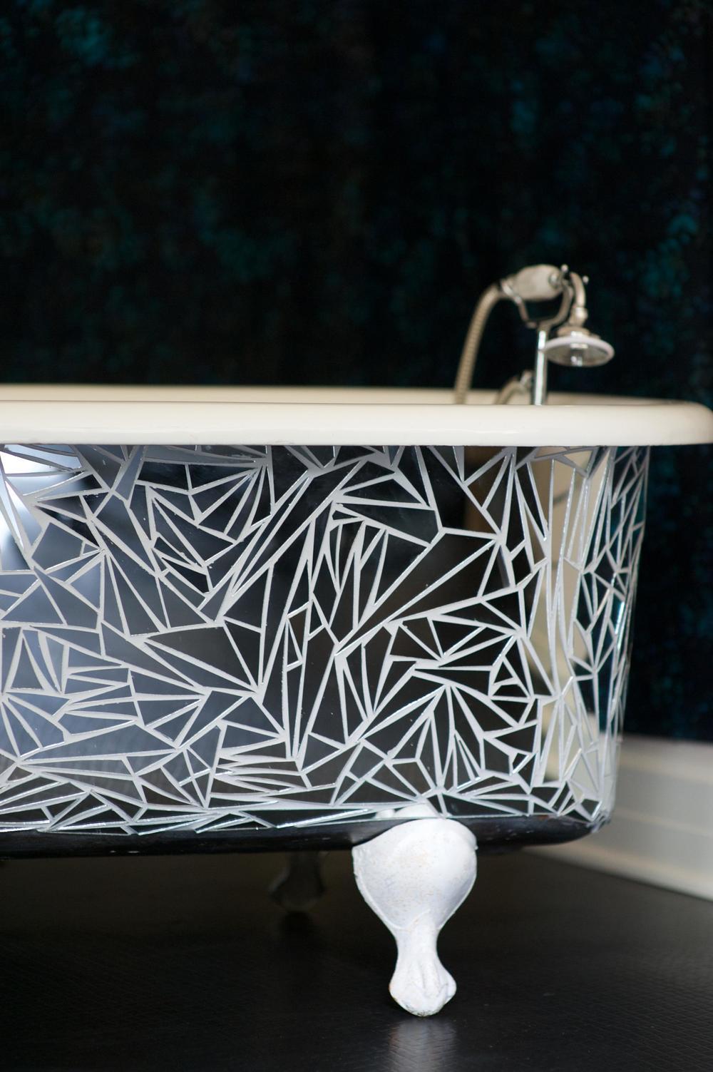 Handcut Mirror Clawfoot Tub Detail