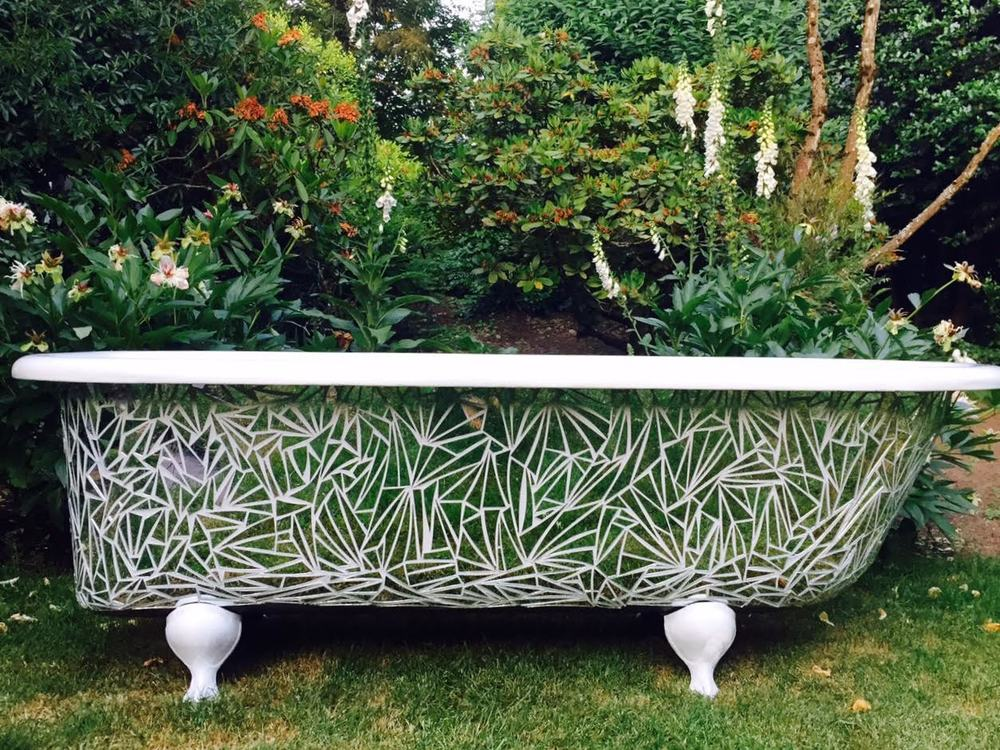 Handcut Mirror Clawfoot Tub Outdoors