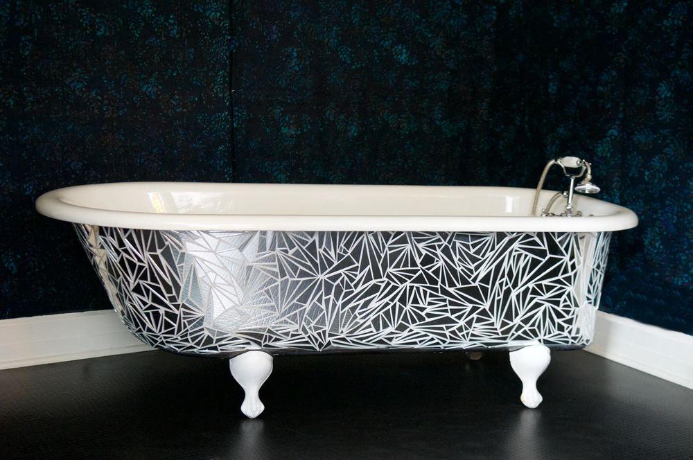 handcut mirror clawfoot tub