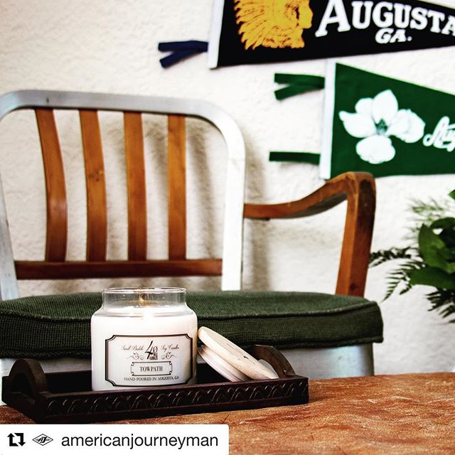 "#Repost @americanjourneyman ・・・ The Towpath Candle: ""Oak moss and woody overtones with the slightest hint of river stone. Inspired by the Augusta canal, this scent is reminiscent of a fresh breeze as it rolls in from the Savannah River."" . . Purchase a jar tomorrow at the American Journeyman pop-up shop in Field Botanicals and get a FREE Augusta art print! 215A 12th Street. Bonus: there are Mimosas and music 11-2! . .📸: @markthemcbride #loveaugusta #augustaga #exploreaugusta #supportdowntown"