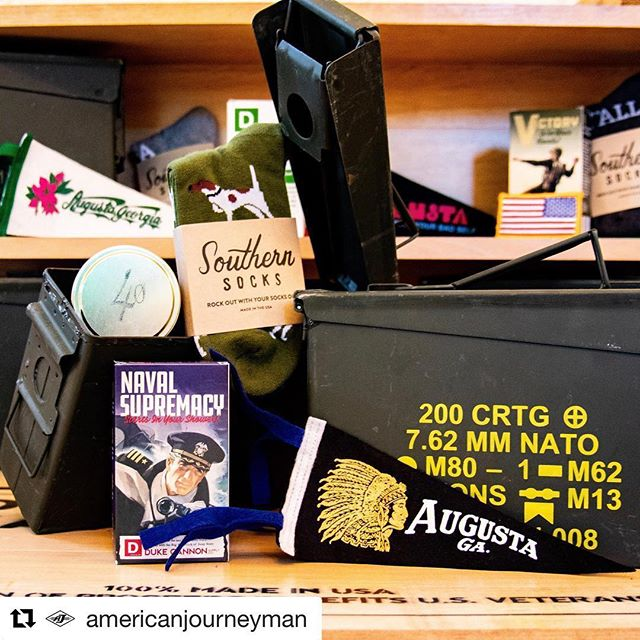 "Check out that lil' cutie travel tin with all those fabulous finds. Kkkkeeeewwwwtttttt 🥰 • • #Repost @americanjourneyman with @get_repost ・・・ How about the photo skillz on @markthemcbride y'all?  It's been really tough trying to give a shop ""vibe"" without having an actual shop to photograph, yet Mark did a bang up job with what we had to start with. In case you didn't know, he's the master behind the camera work @thepiehole_eattrue and @theindianqueen_aug! Did you see their new hats BTW? Legit. . . #shoplocal #newhats #indianqueenaugusta #loveaugusta #lovedowntown #augustaga  #southernsocks #dukecannon #piehole"