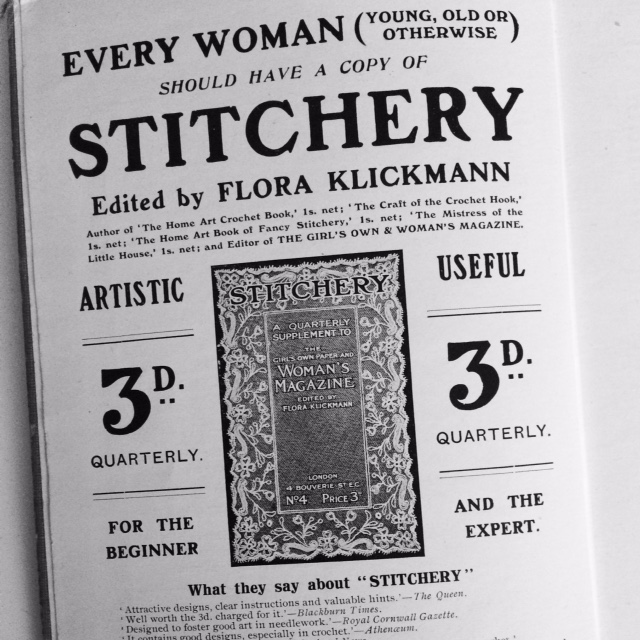 Advert from The Home Book of Fancy Stitchery. Date unknown, maybe 1900s?
