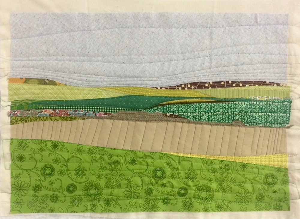 Appliqué landscape, machine quilted. Edges will be finished when I have decided how to display it.