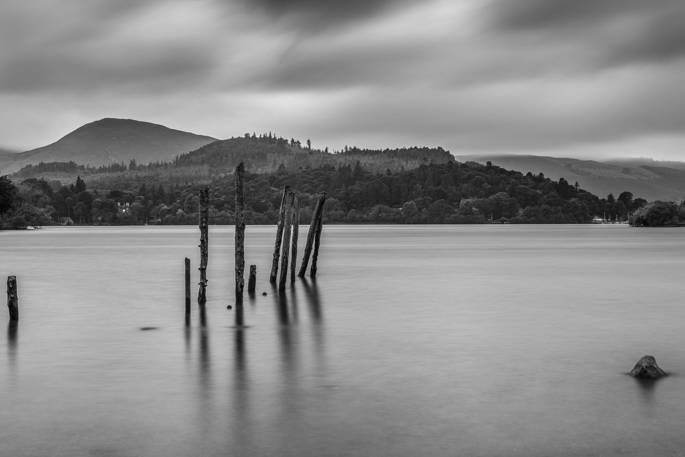 Keswick Launch Wooden Stumps B&W-1.jpg