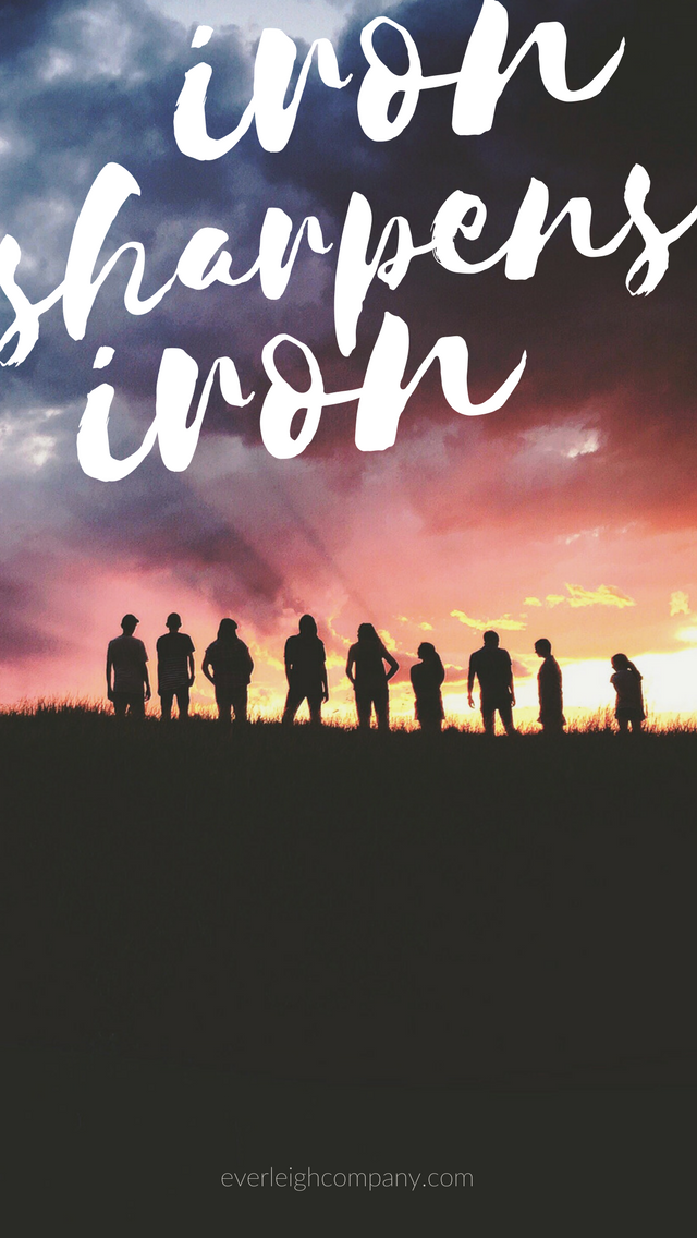 Christian Bible Verse iPhone Wallpaper Iron Sharpens Iron by Everleigh Company