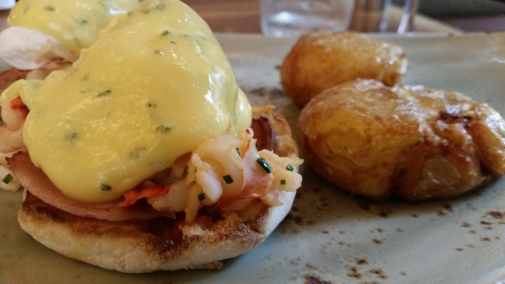 Lobster Benedict and potatoes from Yew in Vancouver, BC