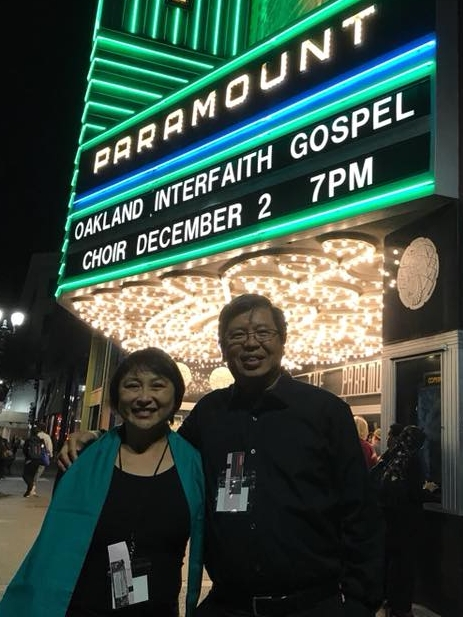 Gene with his wife, Cynthia in front of the Paramount Theatre - Oakland, CA