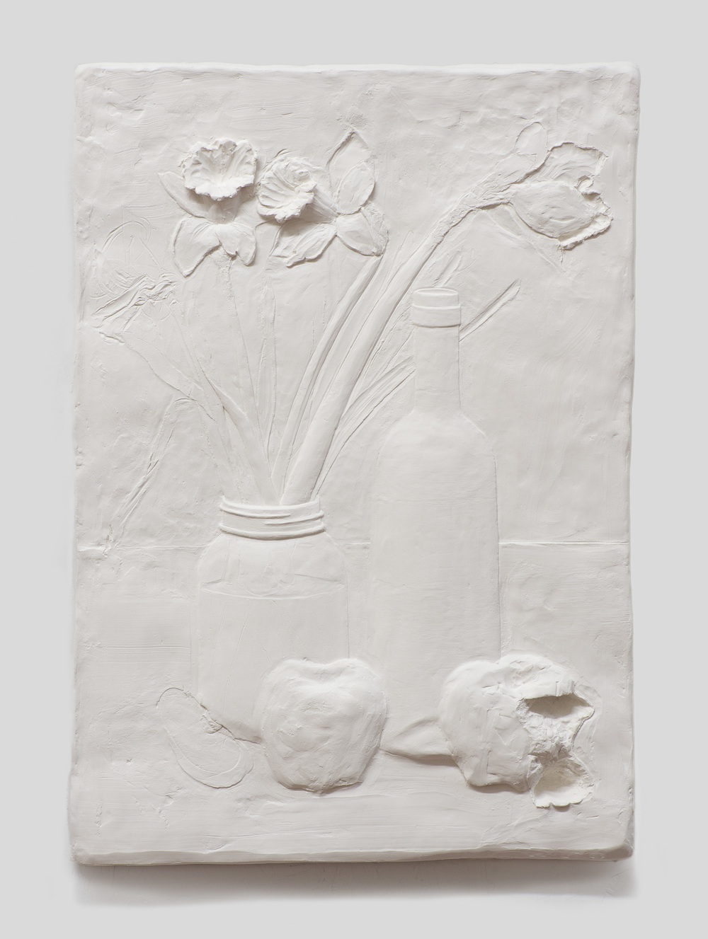 Anthony Miserendino  Still-Life , 2015 Gypsum cement, fiberglass cloth, and wood 21 x 15 x 1 1/2 inches