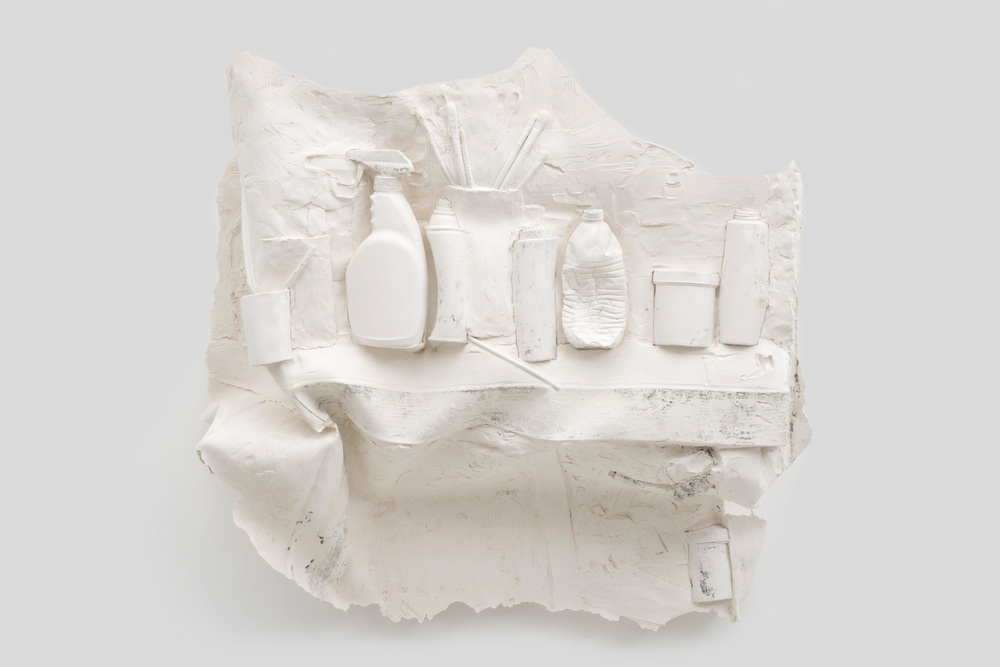 Anthony Miserendino  Shelved , 2014 Gypsum cement, fiberglass cloth, and wood 35 x 36 x 18 inches