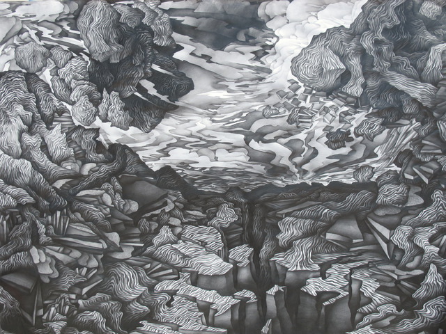Justin Margitich  Disassembling Landscape , 2012 Pencil on paper 88 x 60 inches