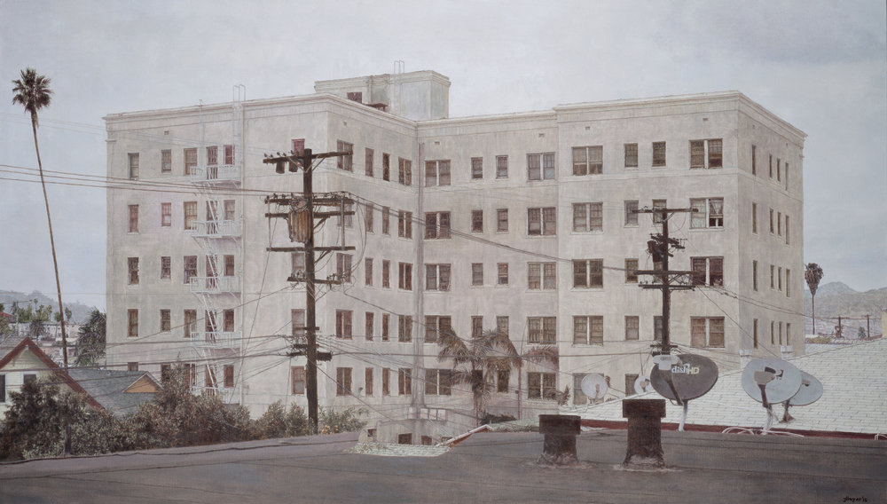 Wilshire Center Building , 2015 Oil on linen 40 x 70 inches