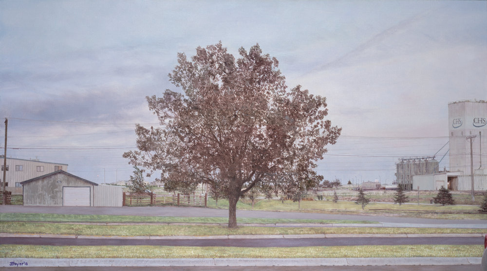 Montana Parking Lot Tree , 2013 Oil on linen  35 x 62 inches