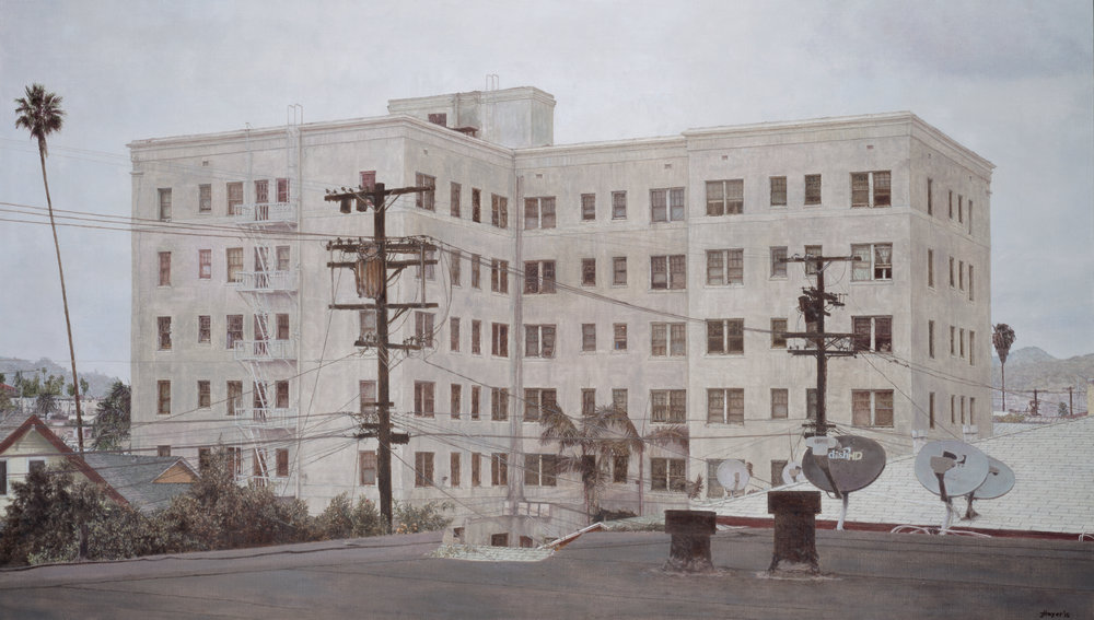 Jack Hoyer  Wilshire Center Building , 2015 Oil on linen 40 x 70 inches