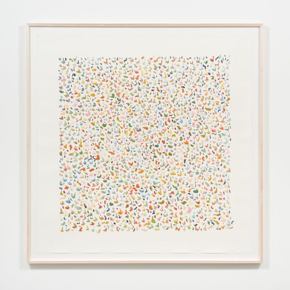 Alexa Guariglia  Terrazzo , 2017 Gouache, ink, and watercolor on paper 67 x 66 inches