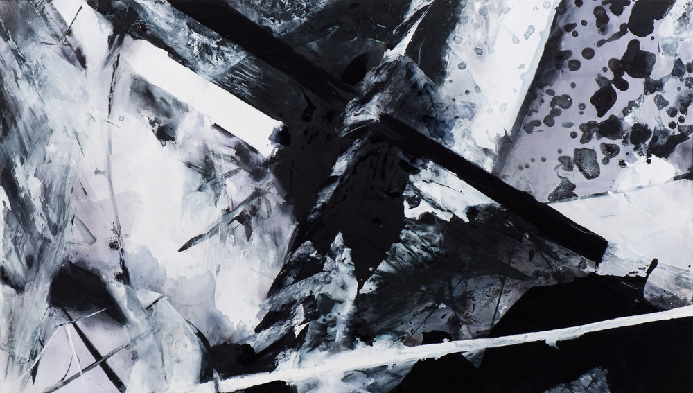 Claire Anna Baker  Downfall , 2017 Acrylic on polyester 30 x 51 1/2 inches
