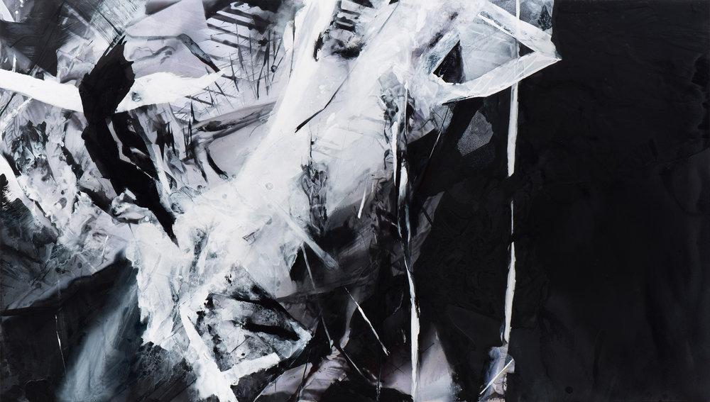 Claire Anna Bake  Precipice , 2017 Acrylic on polyester 35 x 61 1/2 inches