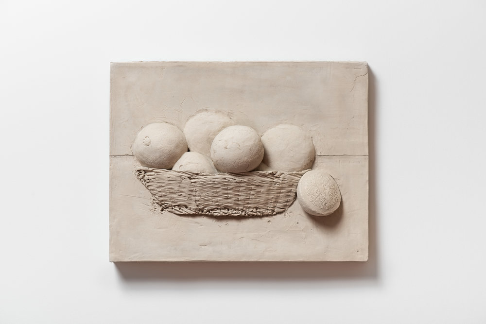 Anthony Miserendin  Orange Basket , 2017 Cement 13 x 17 x 3 inches