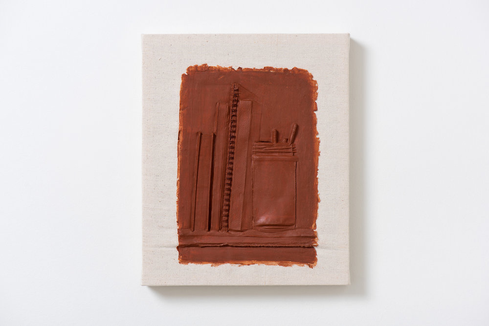 Anthony Miserendino  Shelf with Spiral Notebook , 2018 Acrylic and canvas 16 x 13 3/4 x 1 3/4 inches