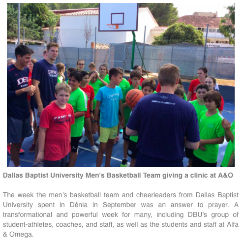"Quote from Junior  JT Harris   ""It has been an amazing experience here in Dénia, sharing the love of Christ with these kids. Having the opportunity and experience to play basketball in Spain has been great for our team and a lot of fun."""