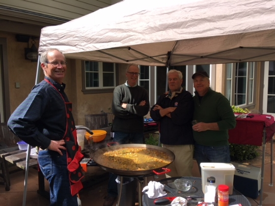The host dads: Kevin, Les (Tio Mas) and Scott making Paella with our  good friend John Reis, father of DBF board member, Jack Reis.