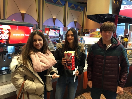 Maria, Leah and Kiko at the movies - trying to not fall asleep while still a bit jet lagged.