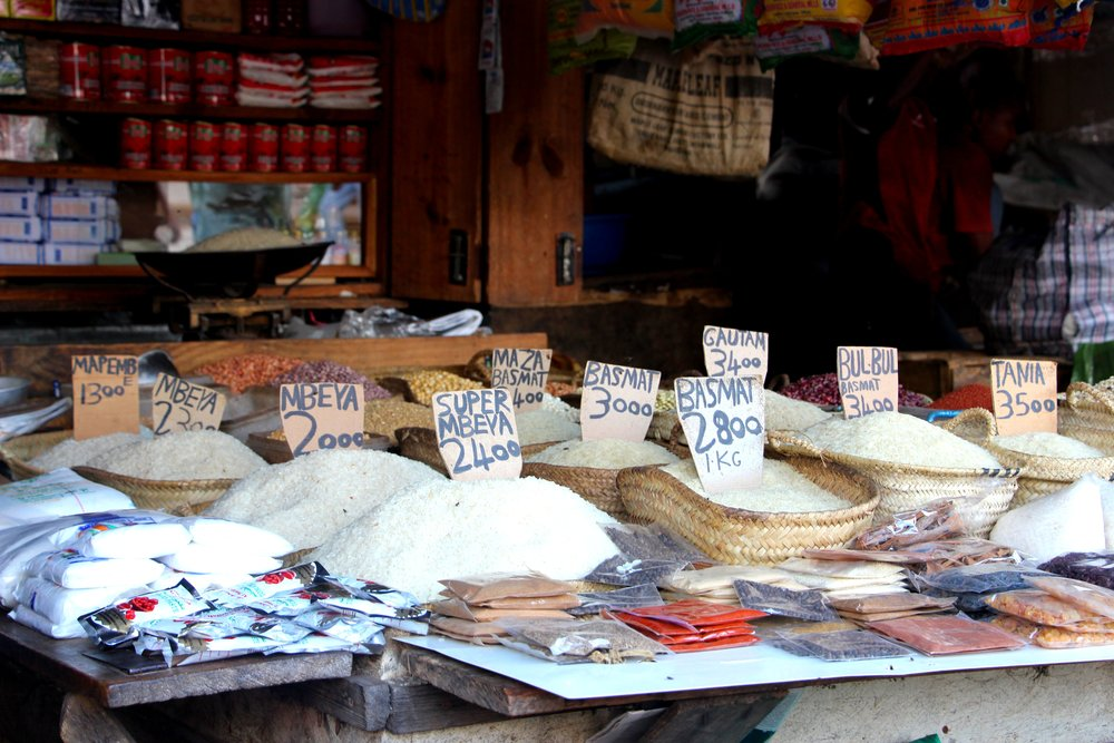 A stall at Stone Town's spice market