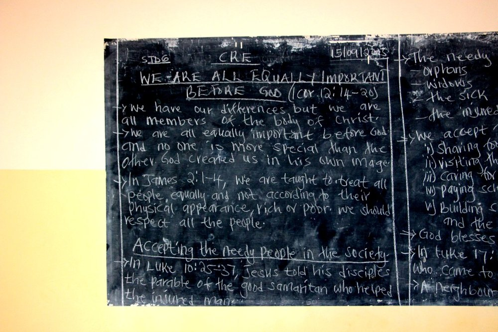 A chalkboard from Class 5 at New Hope School.