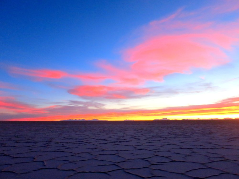 Bolivia Salt Flats Sunset