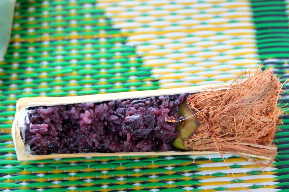 This traditional preparation of purple rice cooked in bamboo was absolutely fabulous.