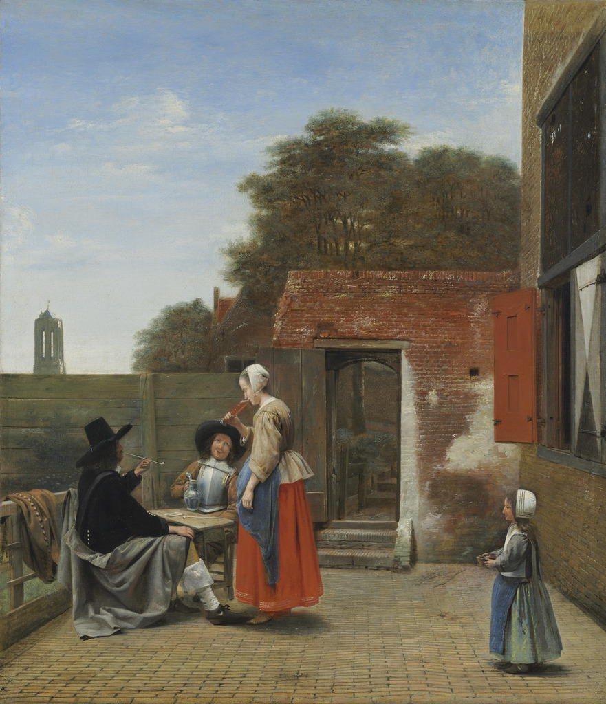 Pieter De Hooch, Two Soldiers and A Woman Drinking In a Courtyard (aka A Dutch Courtyard), c.1658-60, oil on canvas,  27 x 23 in, National Gallery of Art, Washington D.C.