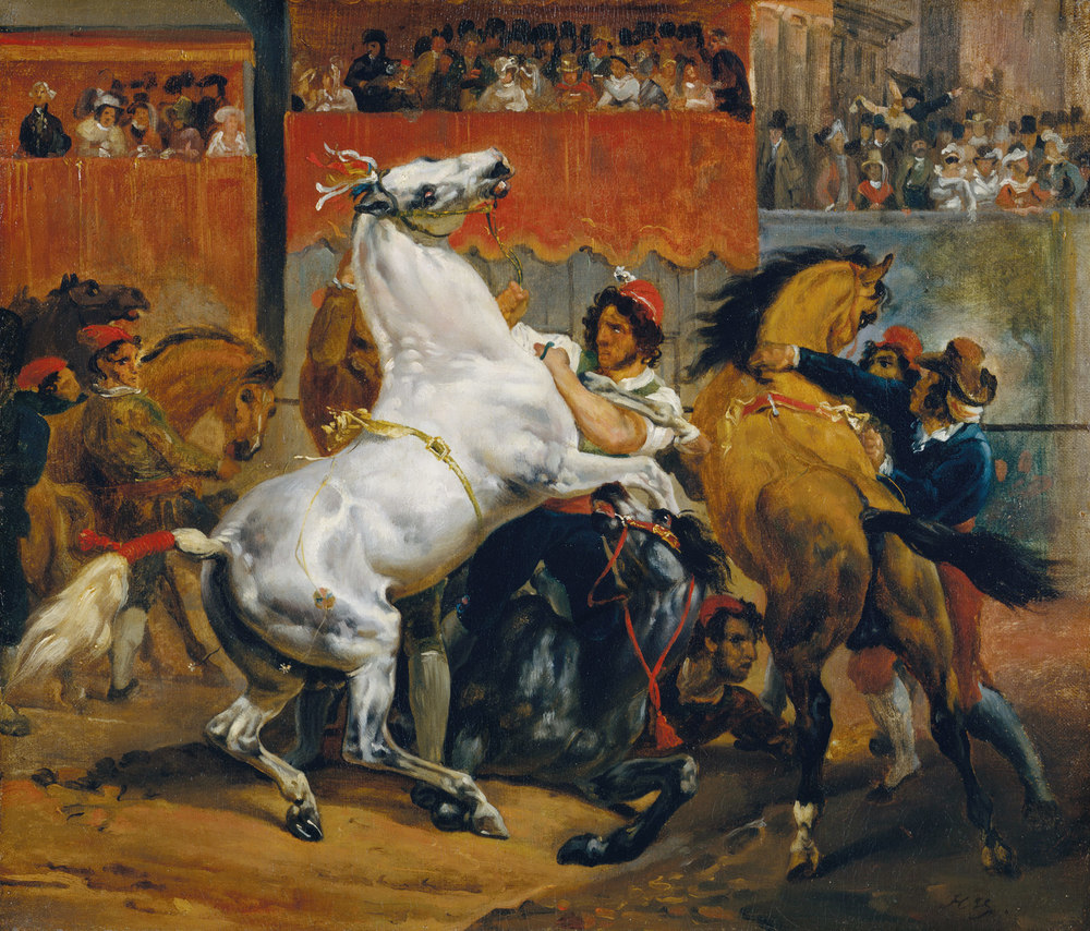The Start of the Race of the Riderless Horses,Horace Vernet, c.1820,          Oil on canvas, 18 1/8 x 21 1/4 in.