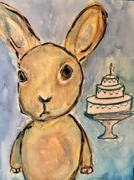 Bunny with a cake
