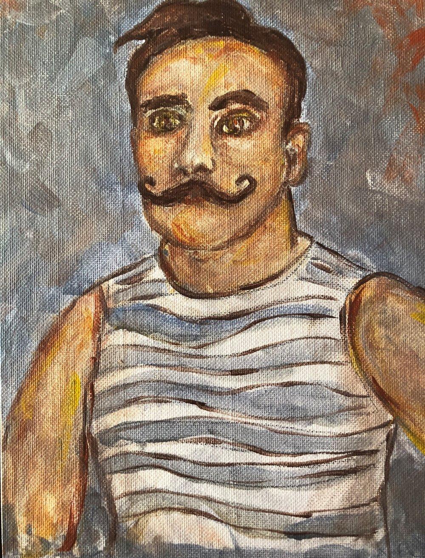 Mustache Man (acrylic)