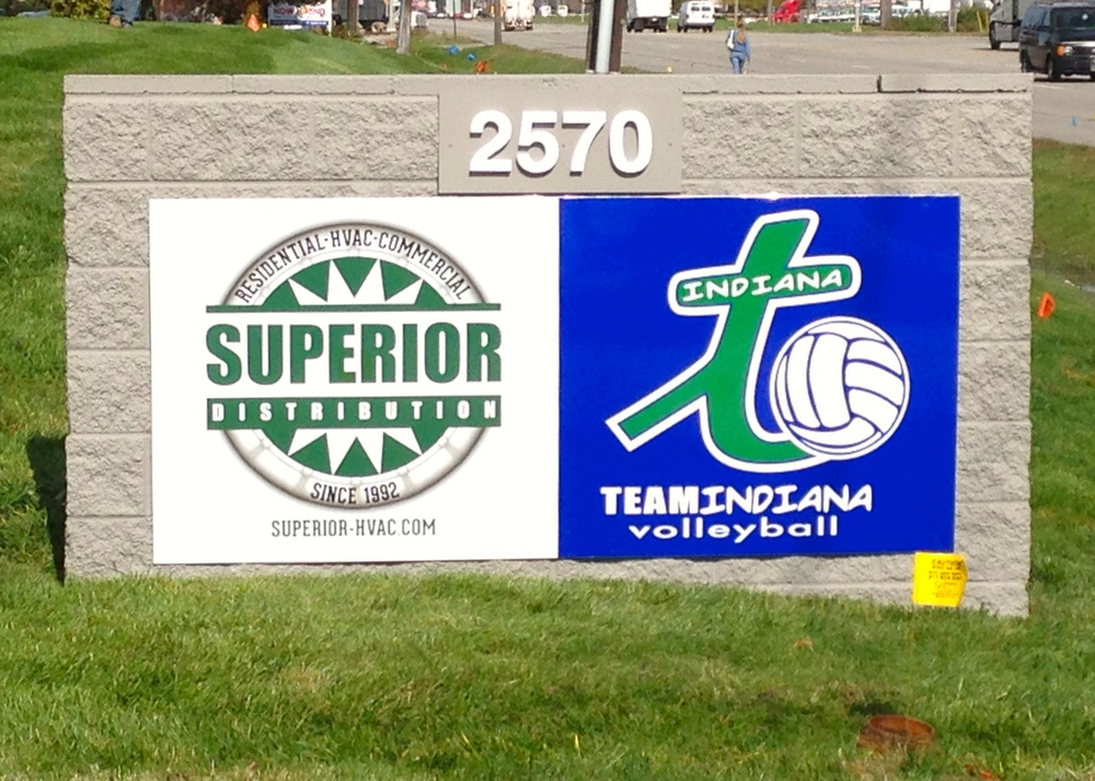 Digitally Printed Monument Sign for Team Indiana Volleyball