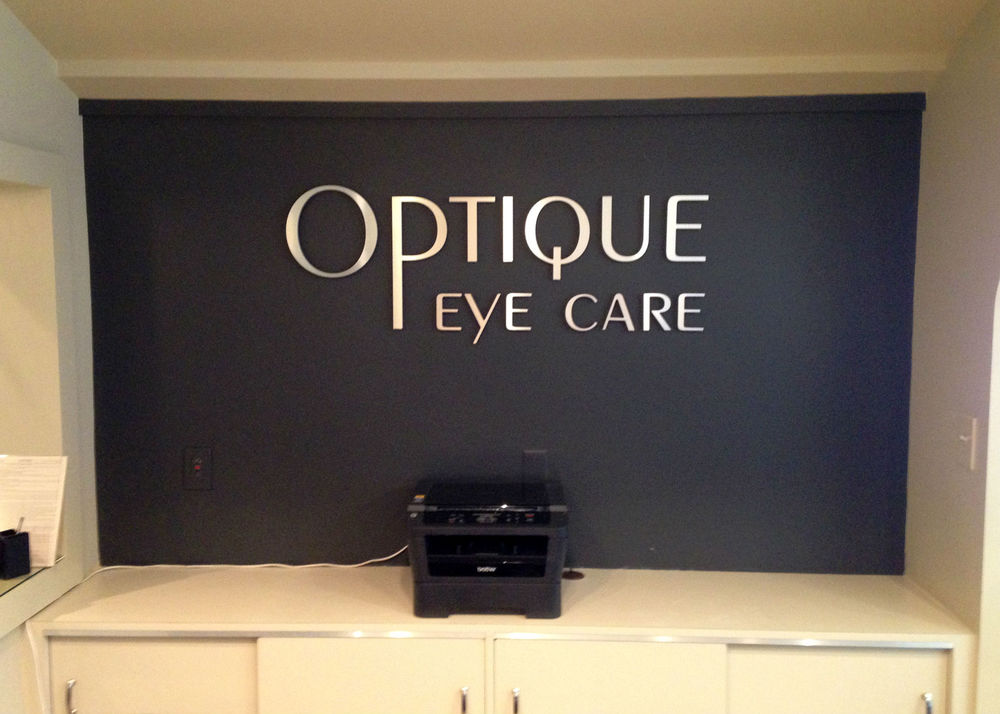 Interior Reception Wall Logo for Optique Eye Care