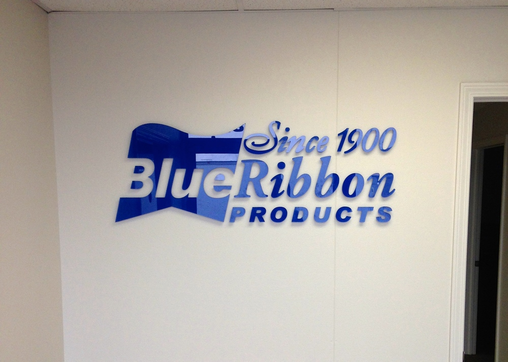 Interior Wall Logo for Blue Ribbon Products