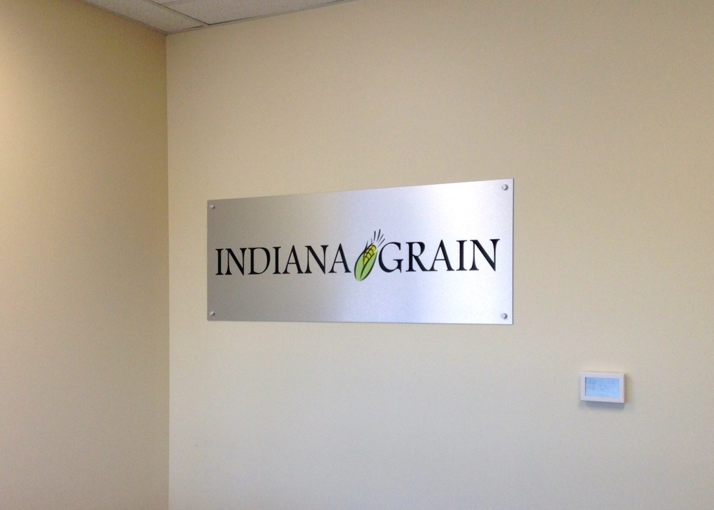 Interior Brushed Aluminum Wall Logo for Indiana Grain