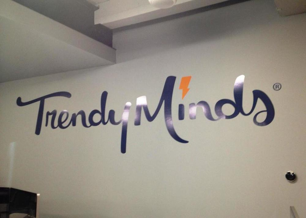 Interior Vinyl Wall Logo for Trendy Minds