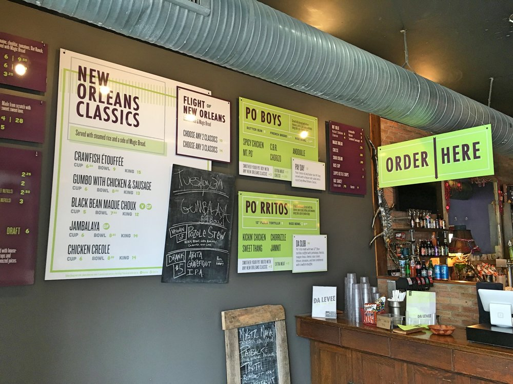 Da Levee Digitally Printed Menu Boards